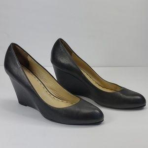 Coach Loise Black Leather Wedges 8.5